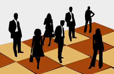 A chess figure and people