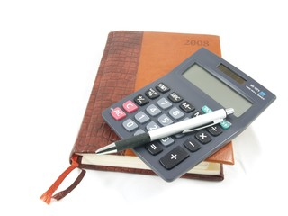 Diary with calculator and pencil