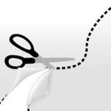 scissors cut wavy dotted line separate 2 sides of page poster