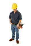 Unemployed, depressed construction worker poster