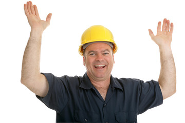Construction worker throwing up his hands in joy.  Isolated