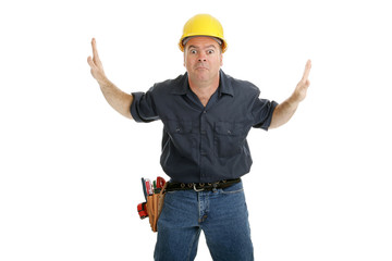 Construction worker stuck between two people or objects