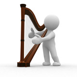 Fototapety 3d human play a melody to his harp