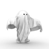 3d human with a cloth like ghost