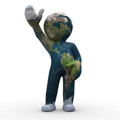 3d earth like a human shape