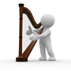 3d human play a melody to his harp