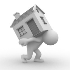 3d human carry a home to his back