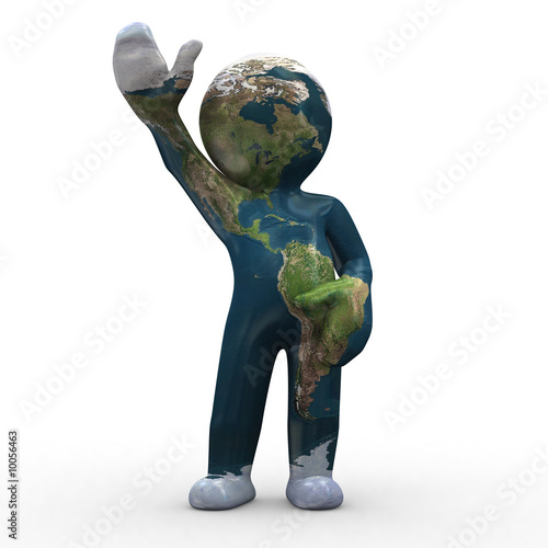 3d earth like a human shape