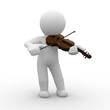 3d human plays with his violin