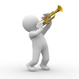 Fototapety 3d human plays with his trumpet
