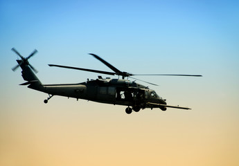 US Army helicopter in early morning