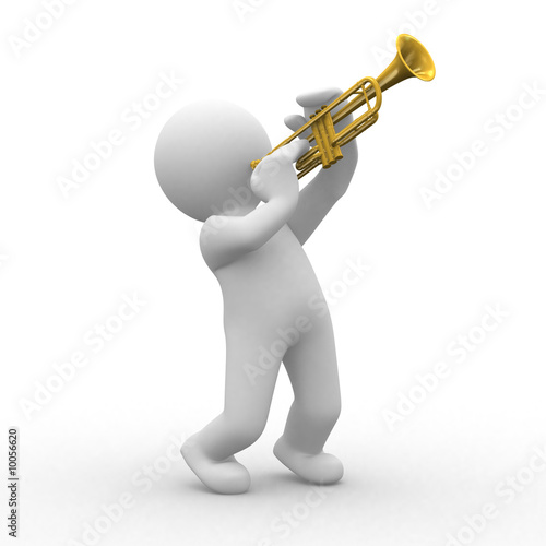 3d human plays with his trumpet