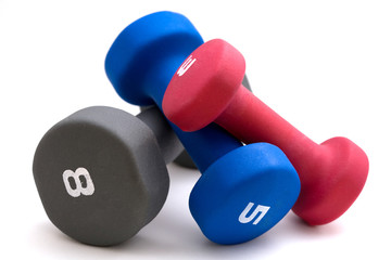 Three dumbbells on white background