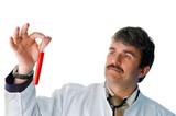 Arzt im Labor mit Reagenzgläsern poster
