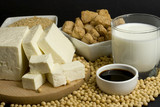 Various soy products used in vegetarian cooking poster