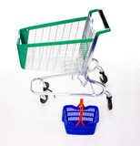 Big shopping cart - trolley and small basket on white
