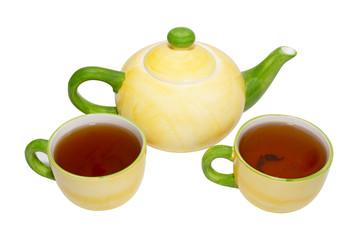 Tea service isolated on white.