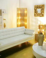 modern interior designed with golden accessories
