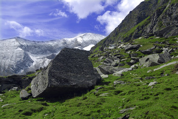 Beautiful Alpine landscape with mountains covered in snow