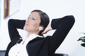 woman listen to the music; relax