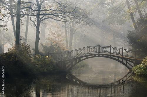 Leinwanddruck Bild Old bridge in misty autumn park