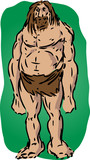 Caveman illustration, sketch of brutish muscular primitive man poster
