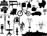 Silhouettes of the different objects poster