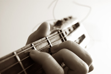 guitar and hand close up