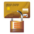Credit card and padlock over white. Shopping safely concept.
