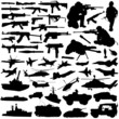military silhouettes vector set