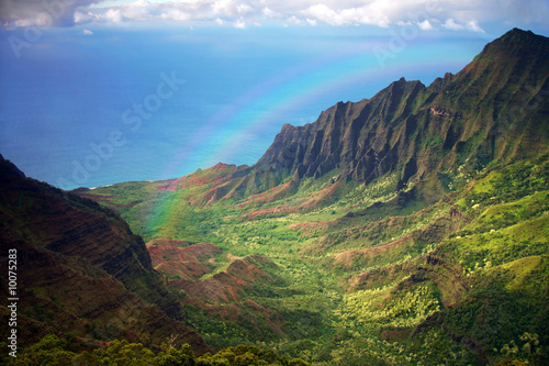 Aerial View of Kauai Coastline in Hawaii With Rainbow