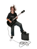 Young Teen Adolescent Playing Black Electric Guitar