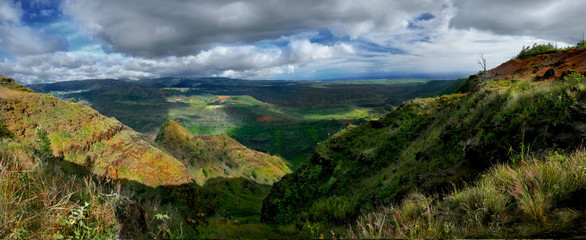 Wiamea Canyon Landscape Panorama in Kauai Hawaii
