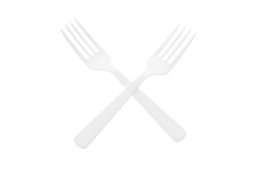 Pair of Plastic Forks on White Background
