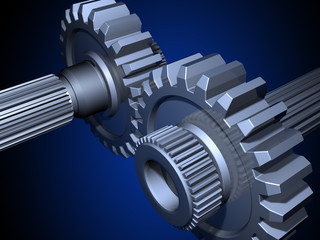 Two gears on a dark blue background