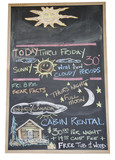 Black board with handwritten weather forecast poster