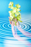 abstract scene with flower in feminine hand poster