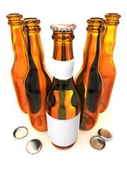 Five botles of beer. 3d