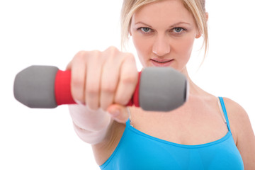 sports concept with a young woman ready to exercise