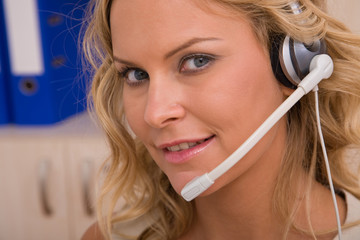 beautiful customer service representative with headset
