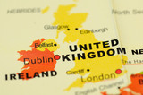 Close up of United Kingdom  on map poster