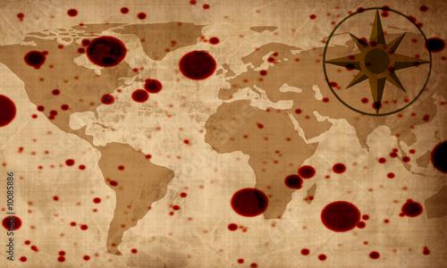 Staande foto Wereldkaart Old paper texture with map of the world