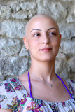 Cancer patient with positive attitude during her treatment poster