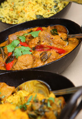 Lamb korma with rice and vegetable curry.