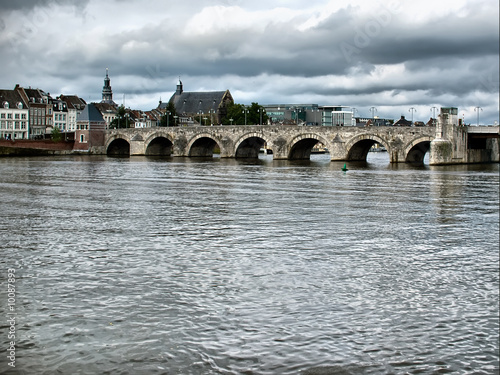 Daylight view of St. Servaasbrug bridge in Maastricht.