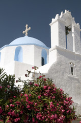greek island church blue dome with steeple bell tower