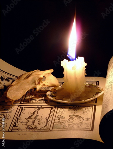 Candle, Skull and Book