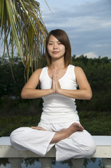 Young attractive woman doing Yoga exercise