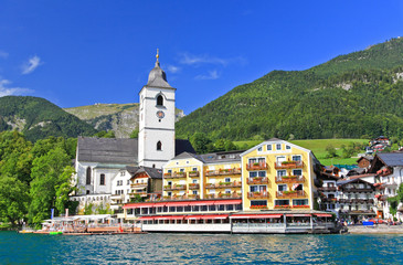 The beautiful St. Wolfgang in Lake district near Salzburg