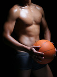 hunky asian basketball player in trunks